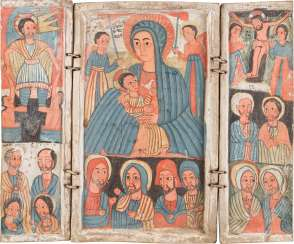 RARE COPTIC TRIPTYCH WITH THE MOTHER OF GOD