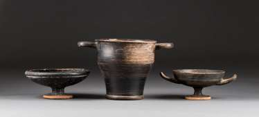 LARGE SKYPHOS, KYLIX AND FOOT SHELL