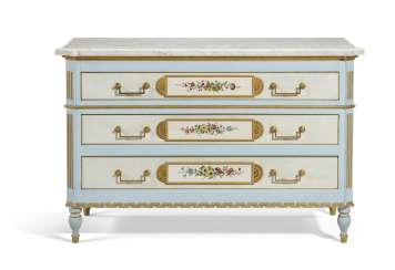 A LOUIS XVI STYLE POLYCHROME-PAINTED AND PARCEL-GILT COMMODE