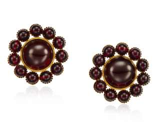 UNSIGNED CHANEL RED GLASS EARRINGS