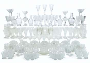 AN ASSEMBLED BOHEMIAN ENGRAVED AND CUT-GLASS PART STEMWARE S...
