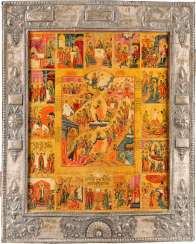 LARGE-FORMAT ICON THE RESURRECTION AND DESCENT INTO HELL OF CHRIST WITH 16 HIGH-STRENGTH WITH BASMA