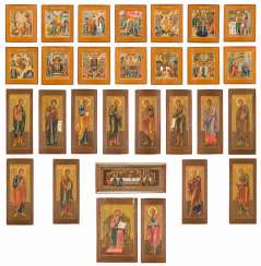 VERY RARE SET OF 29 ICONS FROM A CHURCH ICONOSTASIS
