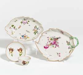Leaf bowl, matching bowl & cup with saucer