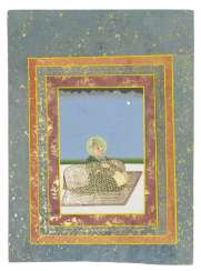 A SEATED PORTRAIT OF MAHARAJA SAWAI MADHO SINGH OF JAIPUR (R.1750-1768)