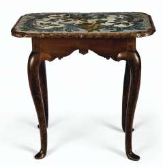 A GERMAN OAK AND BEADWORK OCCASIONAL TABLE