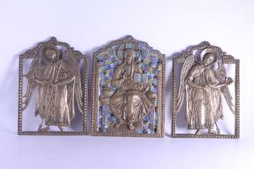 Russian icon of Jesus Christ Archangel Michael Gabriel triptych Deesis bronze enamel.
