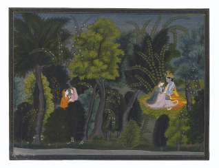 AN ILLUSTRATION FROM THE 'LAMBAGRAON' GITA GOVINDA SERIES: KRISHNA CHARMS RADHA IN A FOREST GLADE
