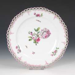 Dessert plates with rose painting, KPM BER