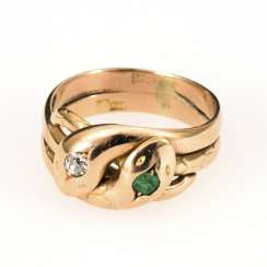 Snake ring with emerald and old European cut diamond around 1900