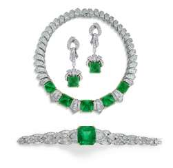 EMERALD AND DIAMOND NECKLACE, BRACELET AND EARRING SUITE, ADLER