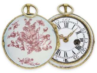 Pocket watch: extremely rare German Rococo enamel Spindeluhr with housing in the style of Meissen porcelain painting, Joseph Golling Stadtamhof (today Regensburg), CA. 1760