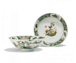 Pair of large bowls with flowers, insects, and the Hundred Antiques