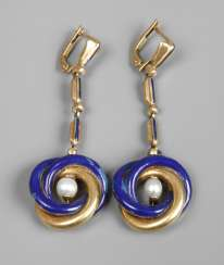 Pair of drop earrings with enamel and pearls