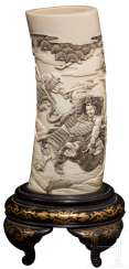 Ivory vase with Samurai illustration, Japan, around 1900