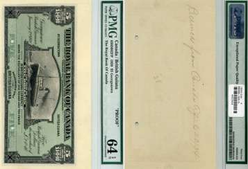 BRITISH GUYANA 5 DOLLARS 1920 PMG PROOF 64 paper (UNC PRESS) 451-243-1