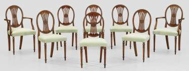 Set of eight Louis XVI chairs