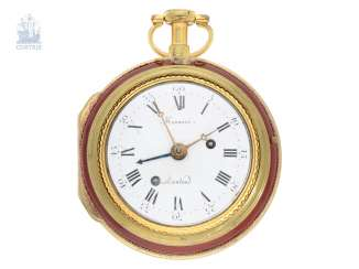Pocket watch: an exceptionally large and rare double case-Spindeluhr with Alarm, Honnore Lieutand a Marseille No. 1080, CA. 1790