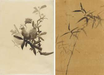 Two ink drawings with bamboo and pomegranate