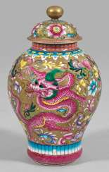 Small baluster vase with dragon decoration