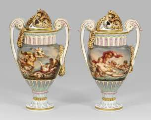 Pair of rare potpourri vases with a mythological representation