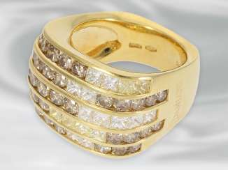 Ring: high-quality and extremely solid Designer cocktail ring with diamonds/diamonds, signed Damiani
