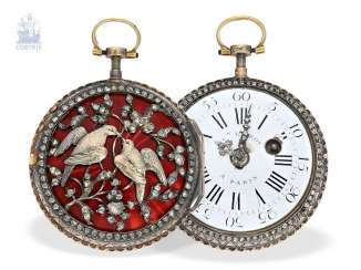 Pocket watch: extremely rare Gold/enamel Spindeluhr with diamonds, Royal watchmaker Julien Le Roy around 1750