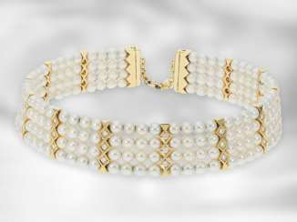 Choker: extremely luxurious goldsmith's unique item, neck clasp - choker - with the finest Akoya cultured pearls and diamonds, a total of 1.8 ct, 18K yellow gold