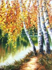 Autumn birches by the river