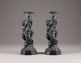 PAIR OF CANDLESTICKS WITH BEARS