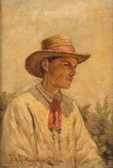 P. W. JAWTUSCHENKO Russian painter active at the beginning of the 20th century. Century PORTRAIT of A MAN WITH straw hat