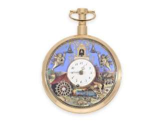 "Pocket watch: important, great, historically interesting gold enamel pocket watch with two Jacquemarts and three automatons ""of The anglers at the mill"", Switzerland, C. 1810"
