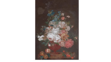 Important mounted under glass with a bouquet of flowers and fruit on a table on black background