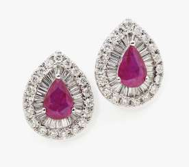 A pair of ear studs with brilliant-cut diamonds, diamonds and rubies