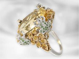 Ring: large imaginatively designed citrine stones ring with emeralds and yellow color, 14K Gold, unworn