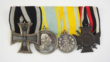 Saxony: Medalbar of a brave frontline soldier with 4 awards.