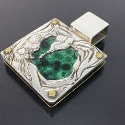 Katja Engelmann, Berlin: Erotic pendant: malachite, silver 925, large square version, Hand-engraved, one of a kind!
