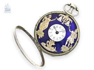 Pocket watch: Spindeluhr with early Jacquemart figure machine, Esquivillon et Deschoudens à Genève, No 7787, around 1800