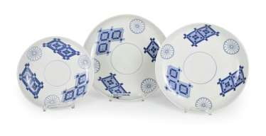 Three underglaze blue decorated dish with Kikumon and diamond pattern
