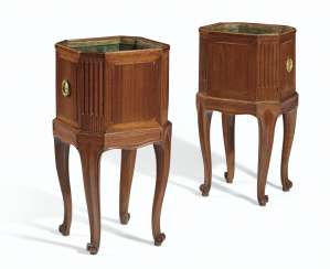 A PAIR OF LATE LOUIS XV ORMOLU-MOUNTED MAHOGANY JARDINIERES ...