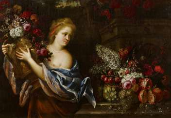 Flower Still Life with Girl with Flower Basket