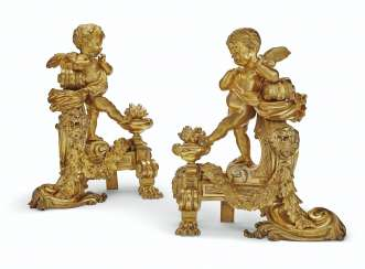 A PAIR OF FRENCH ORMOLU FIGURAL CHENETS