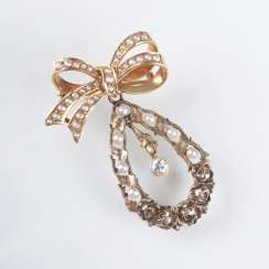 Art Nouveau seed pearl and diamond brooch with bow crown