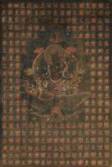 Thangka with the green tare surrounded by a thousand tare