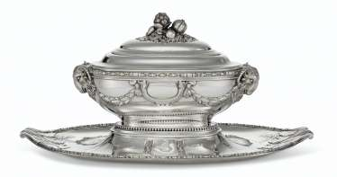 A FRENCH SILVER TUREEN, COVER AND STAND