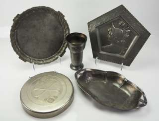 Art Nouveau: various objects made of tin.