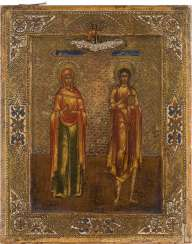 A SMALL ICON WITH THE SAINTS ANNA AND THEKLA Russia