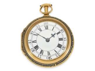 Pocket watch: heavy English Gold/enamel double case pocket watch of exceptional quality and original change of housing, extreme early cylinder escapement and eighth hour repeater, William Threlkeld, London, No. 626. London Hallmark 1733