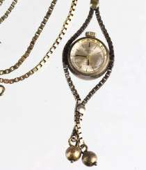 gold-plated necklace watch silver