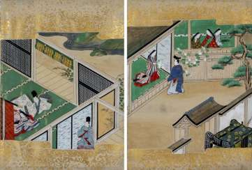 Two scenes from the tale of Genji (Genji Monogatari)